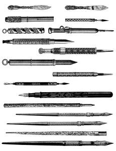 vintage pen pencil clipart, old fashioned writing instrument.