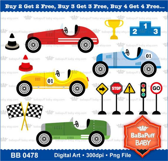 Buy 2 Get 2 Free Vintage Racing Cars Clipart by babapuffbaby.
