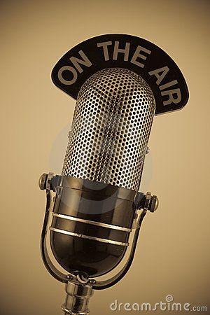 vintage radio microphone stock photo.