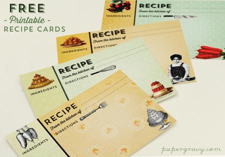 Printable Vintage Recipe Cards.