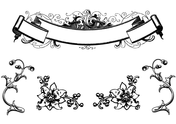 Free Antique Floral Ornaments and Scroll Clip Art.