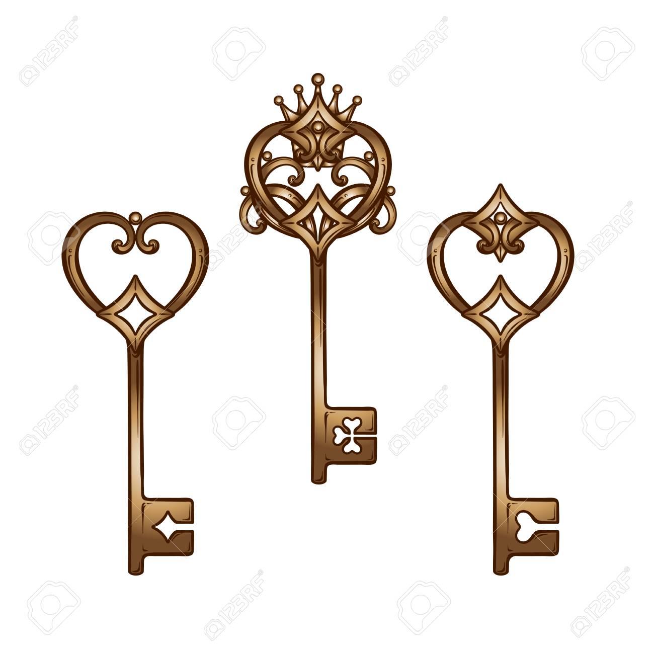 Vintage heart shaped bronze antique skeleton keys set. Hand drawn...