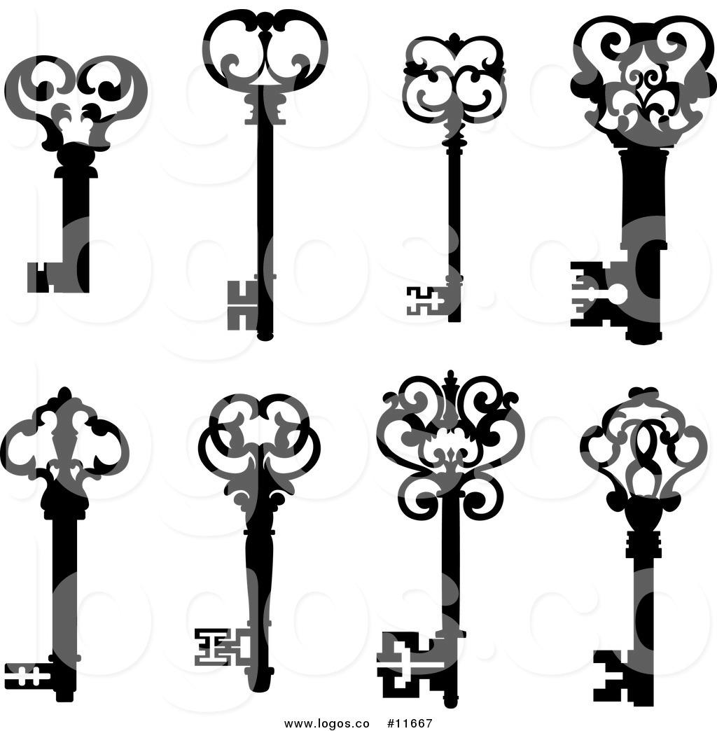 Royalty Free Clip Art Vector Black and White Antique Skeleton Keys.