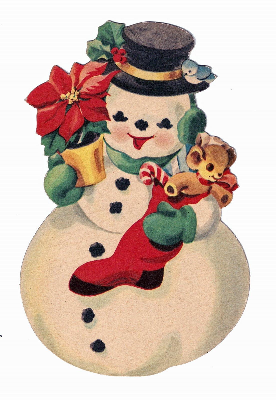 Vintage Snowman Clipart.