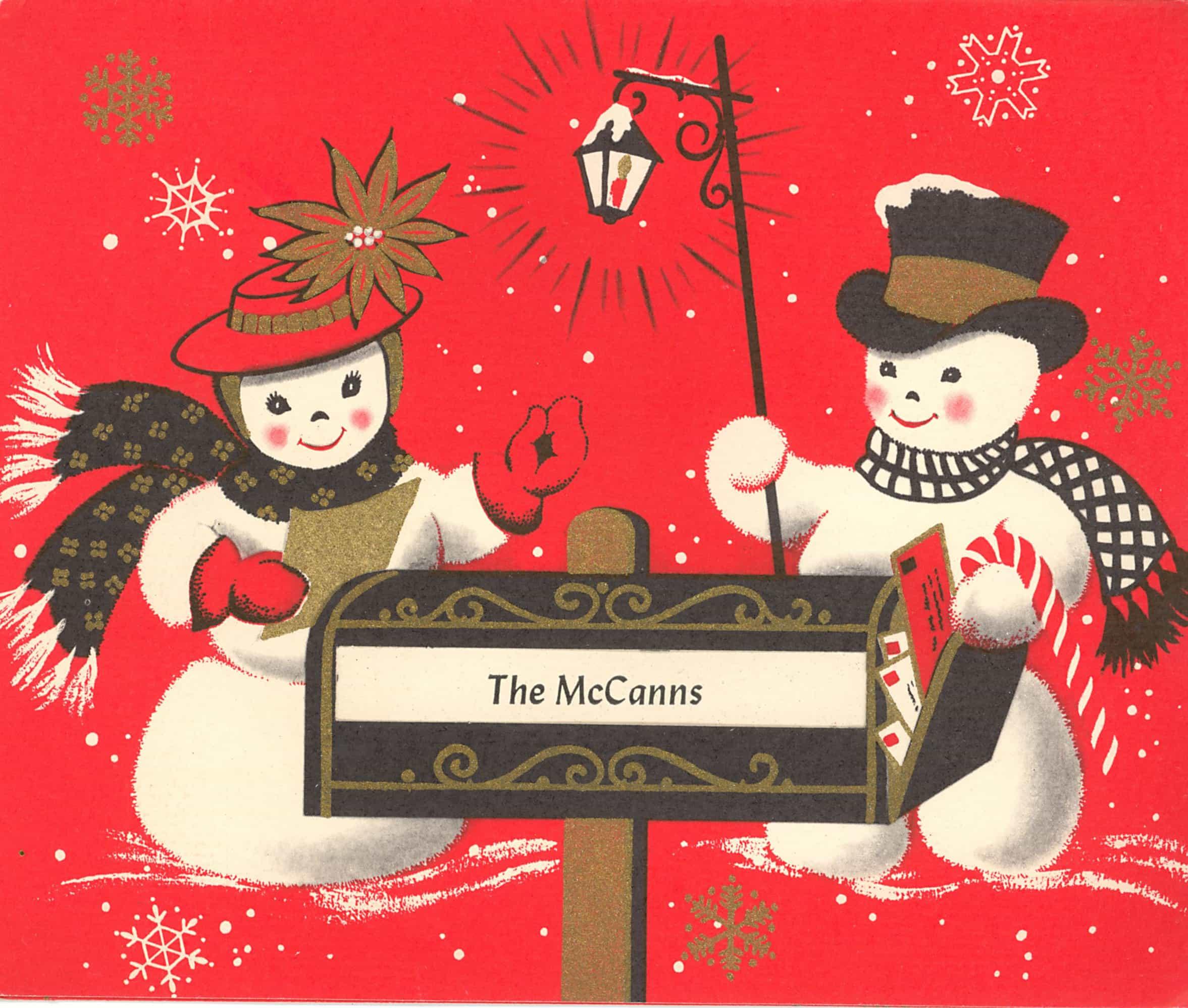 Vintage Christmas Snowman Clipart.