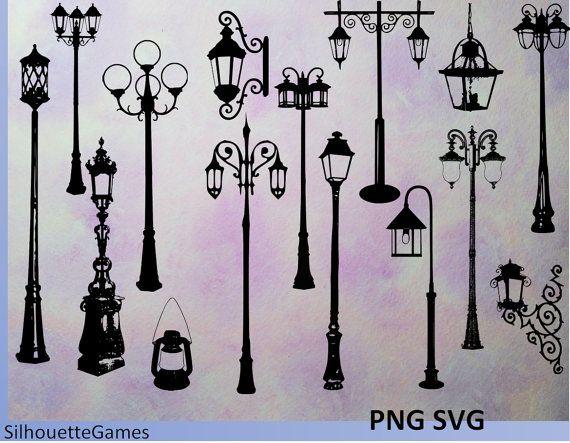 lantern silhouette, lantern clipart, street light. street.
