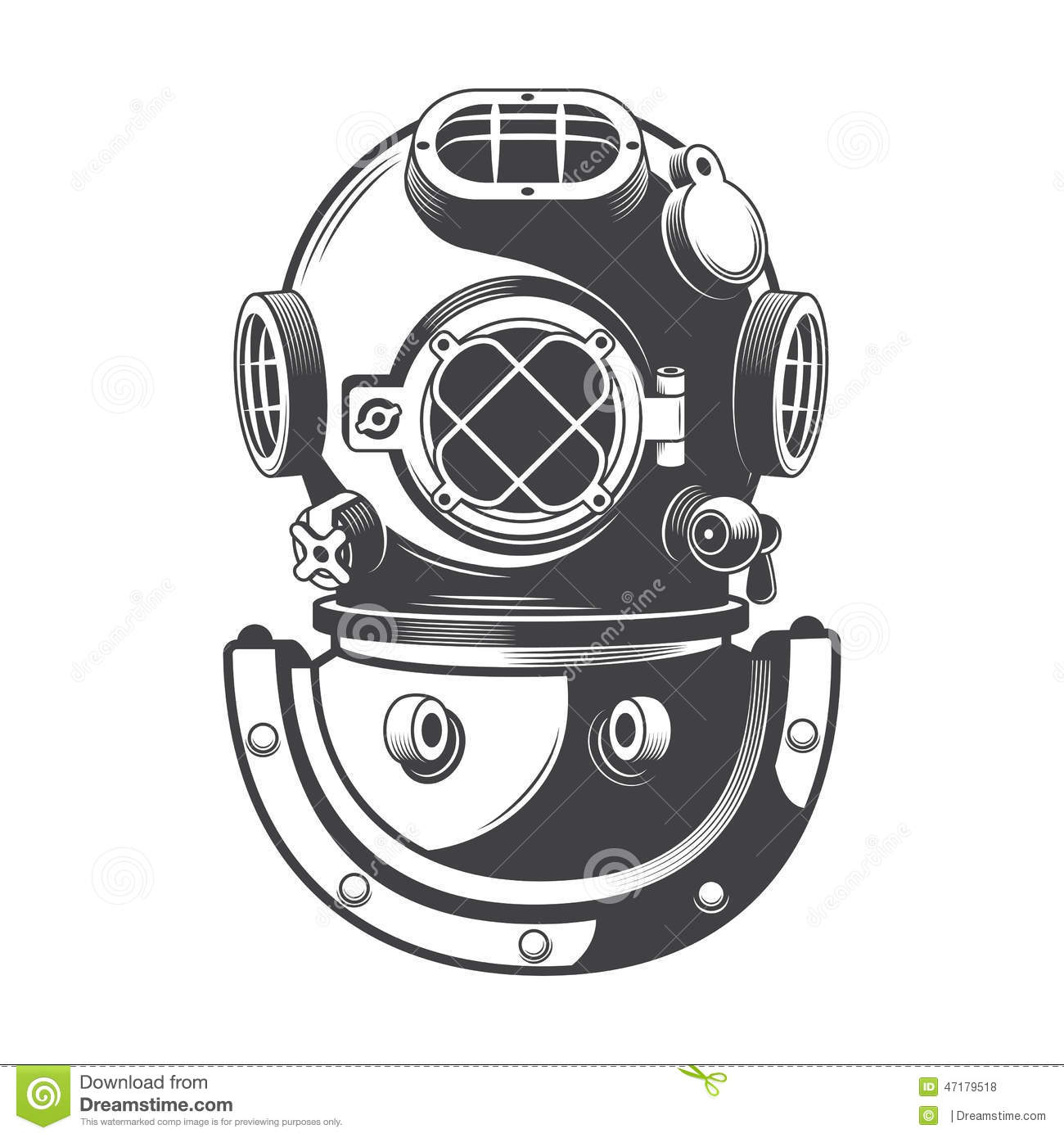 Old Diving Helmet Stock Illustrations.