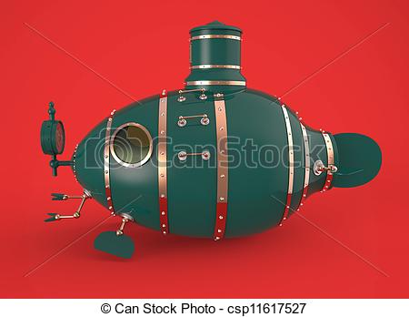Clip Art of ancient green submarine.