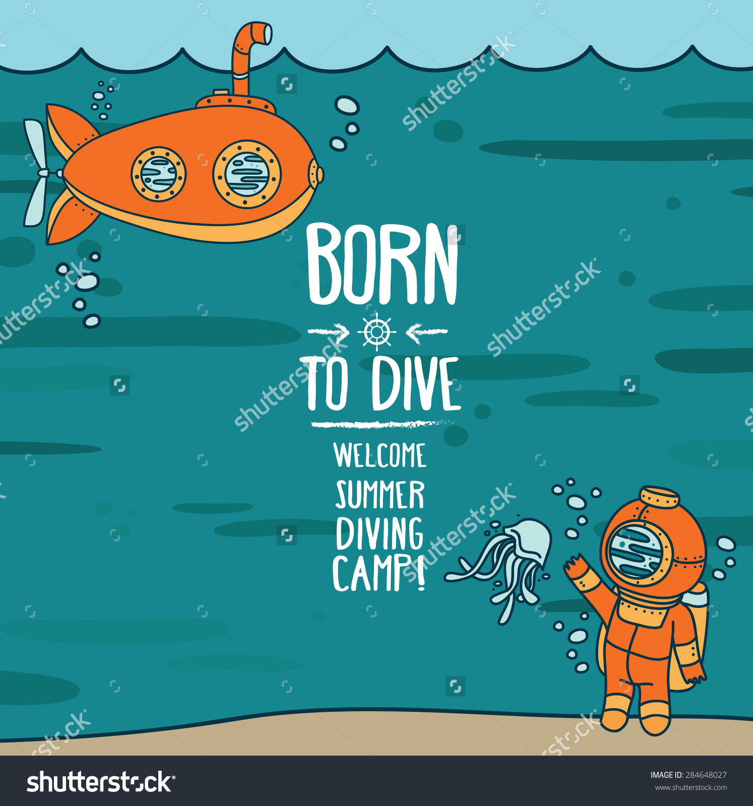 Born Dive Poster Card Vintage Submarine Stock Vector 284648027.
