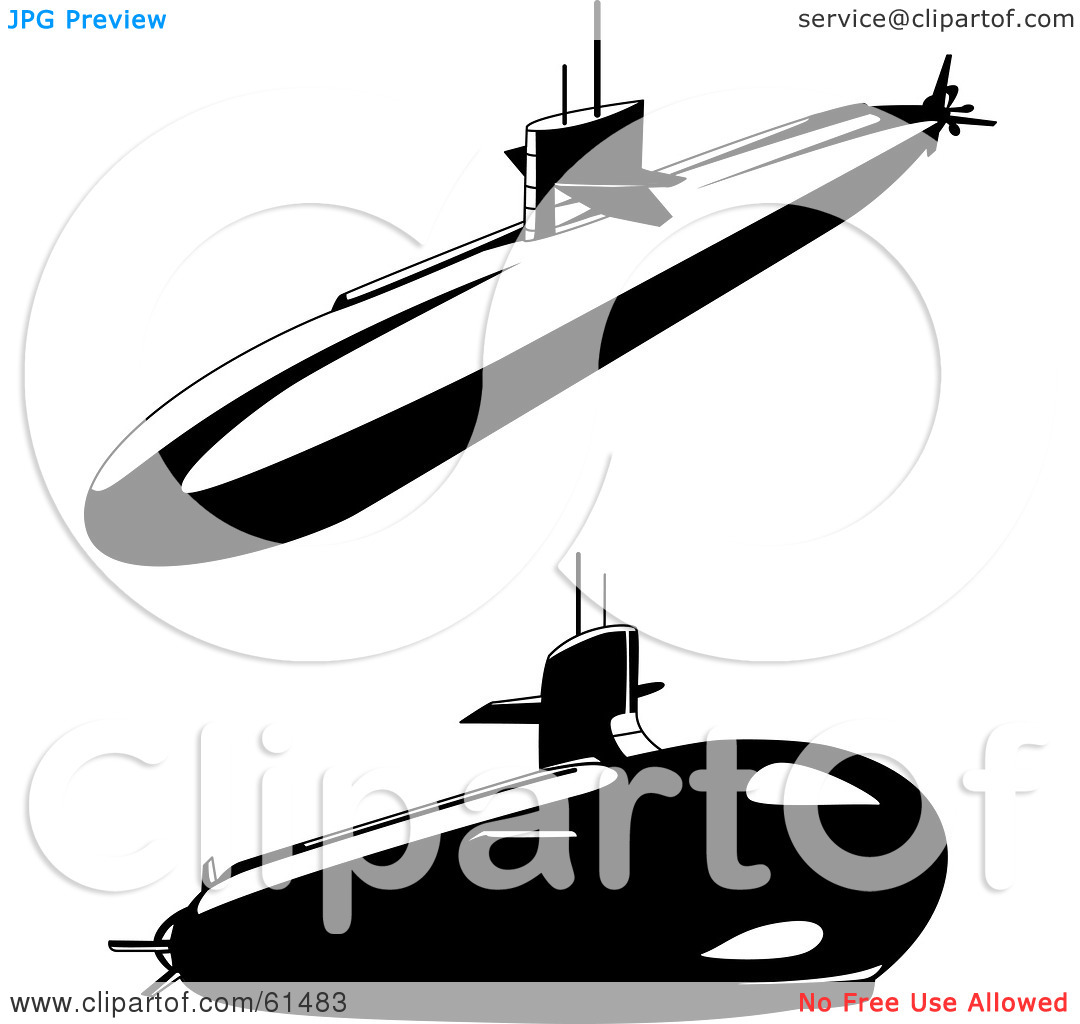 Submarine Black And White Clipart.