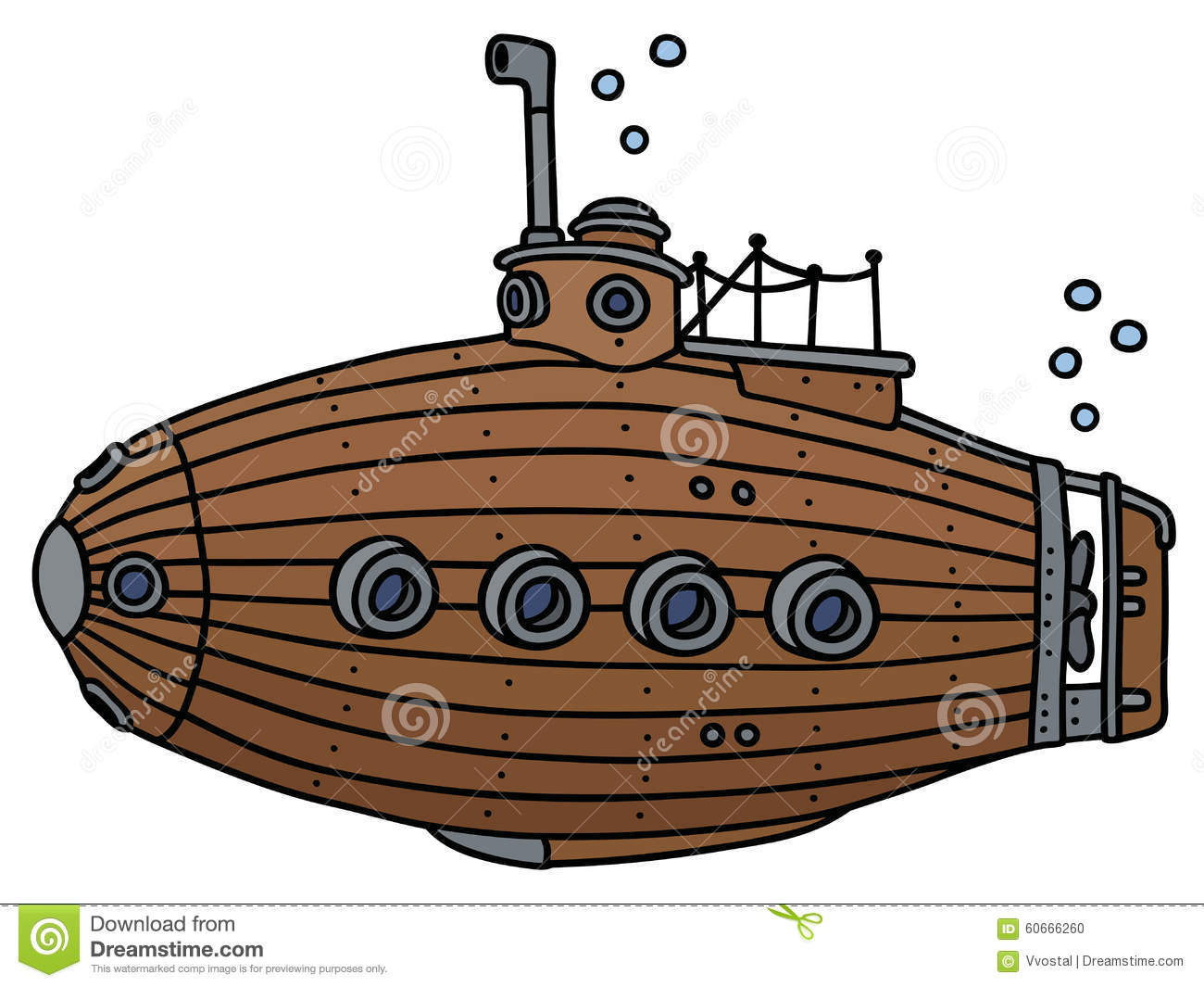 Old Wooden Submarine Stock Vector.