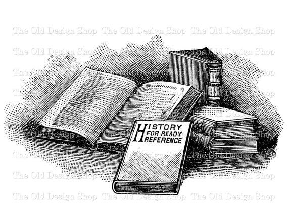 Vintage Book Clip Art Stack of Books Illustration Digital.