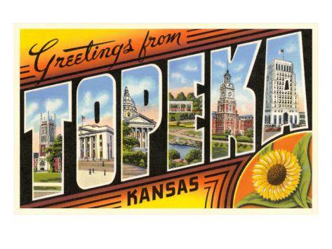Greetings from Topeka. Kansas Art Print.