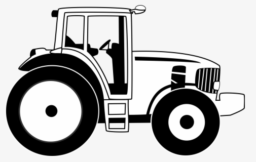 Free Tractor Black And White Clip Art with No Background.