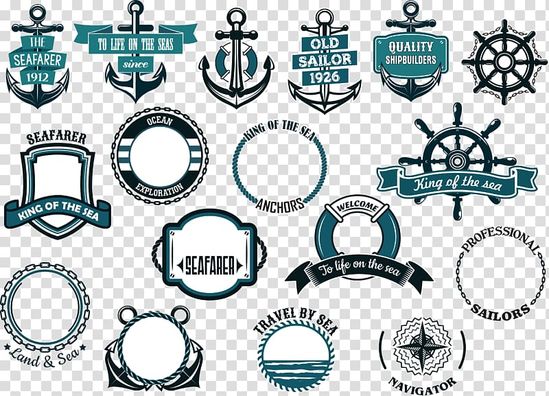 Black anchor and ship wheel Maritime transport Banner.