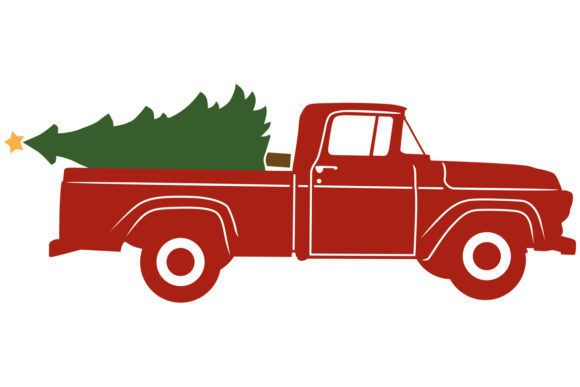 1957 Antique Pickup with Christmas Tree.