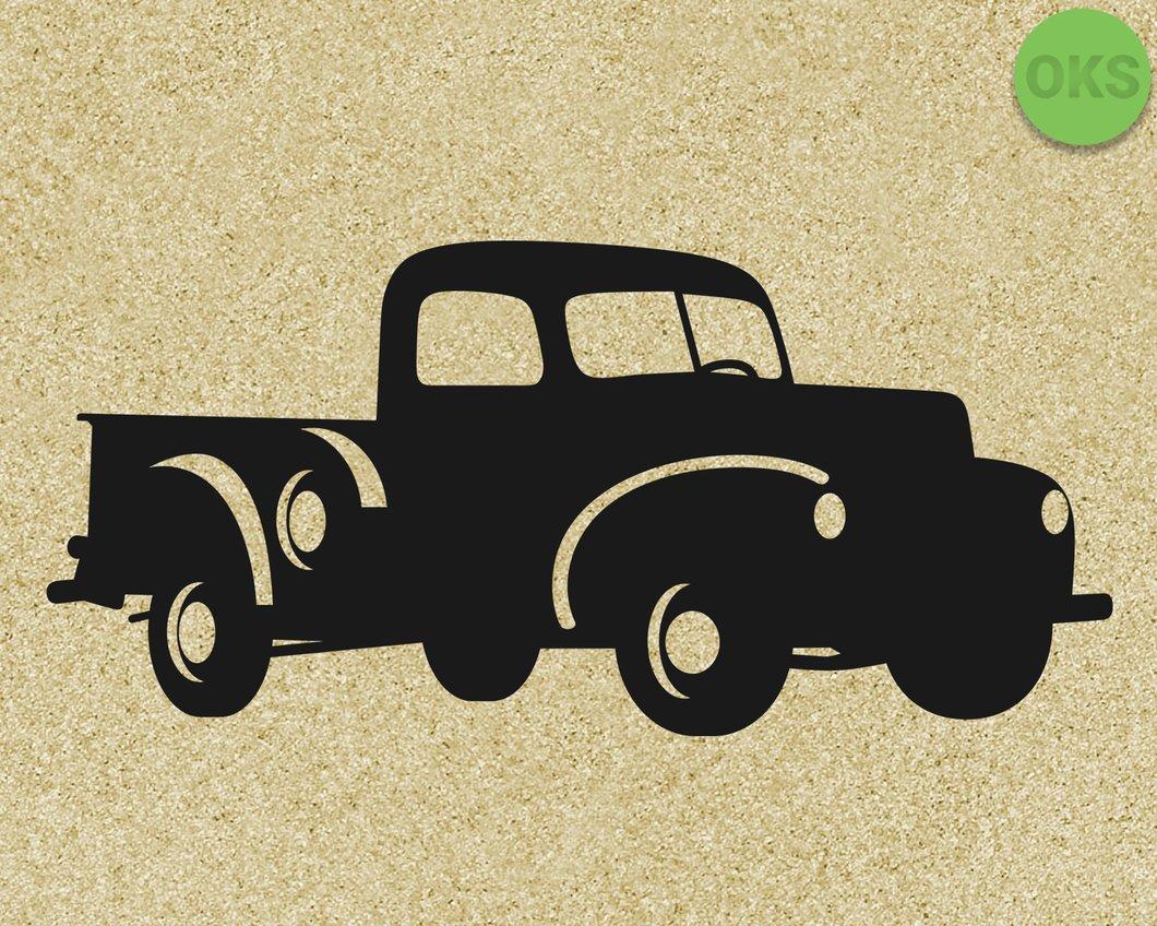 vintage farm pickup truck svg, dxf, vector, eps, clipart, cricut, download.