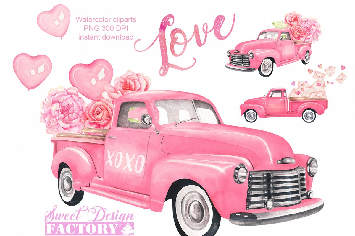 Valentines day truck watercolor clipart.