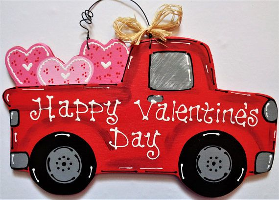 Happy Valentine\'s Day VINTAGE STYLE TRUCK Sign Wall Door.