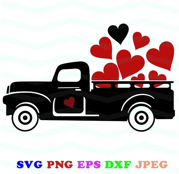 Black truck svg, Red Truck svg, Valentine clip art, Love svg.