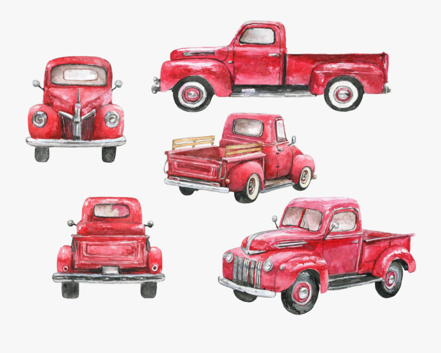 watercolor #vintage #truck #red #pickup #christmastruck.