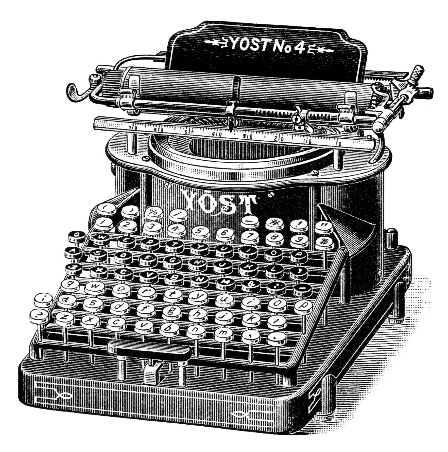 Antique typewriter clipart #7