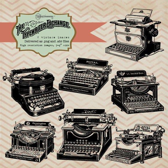 Vintage Typewriter Clipart & Brushes ~ Graphics on Creative Market.