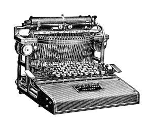 vintage typewriter clip art, free black and white clipart, antique.