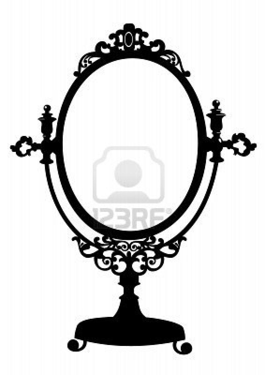 Silhouette Of Antique Makeup Mirror Royalty Free Cliparts.