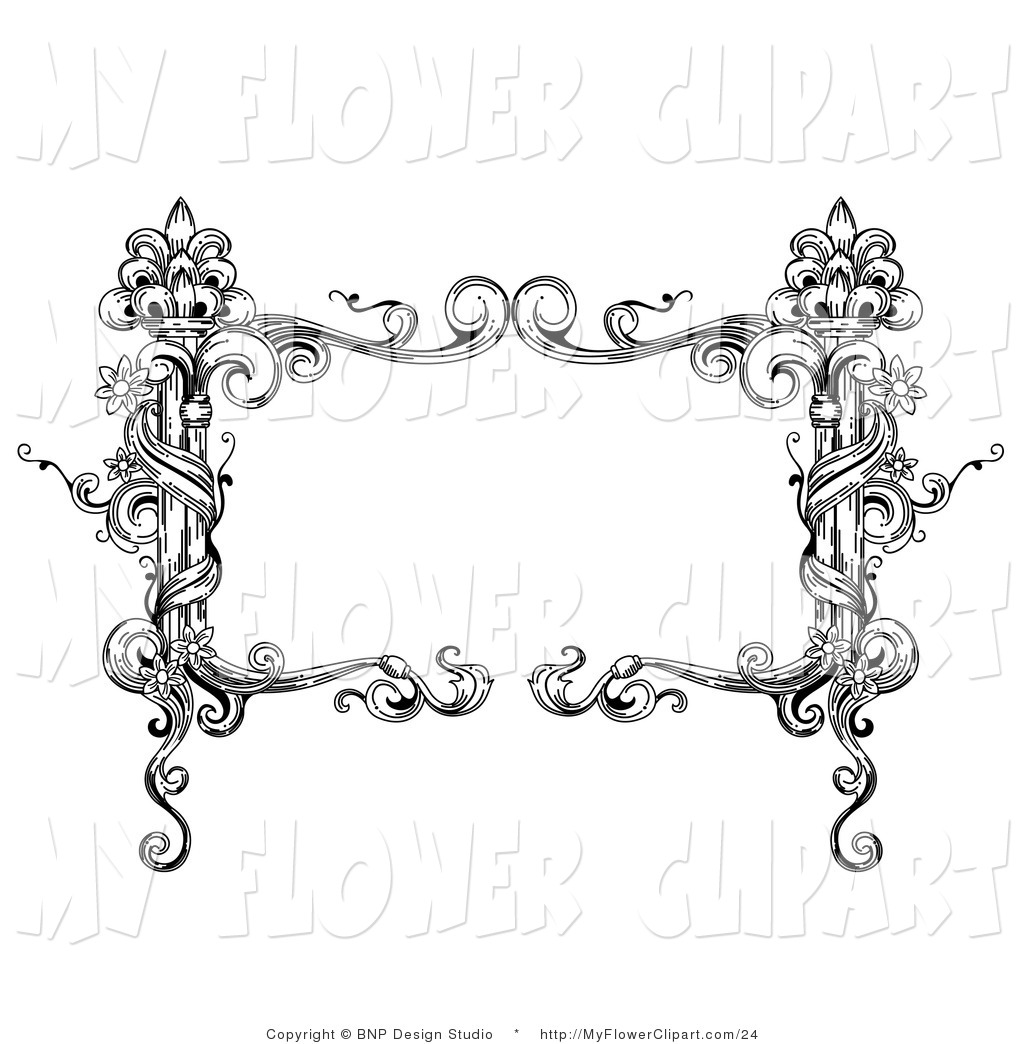 Clip Art of a Vintage Black and White Rectangular Floral.