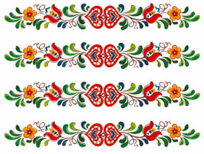 Vintage Image Retro Folk Art Flowers Hearts Banner Swag Transfers Decals  FL510.