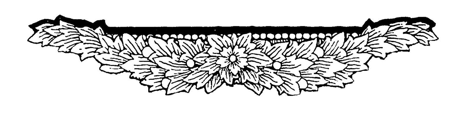 Digital Stamp Design: Floral Swag Stock Border Design.