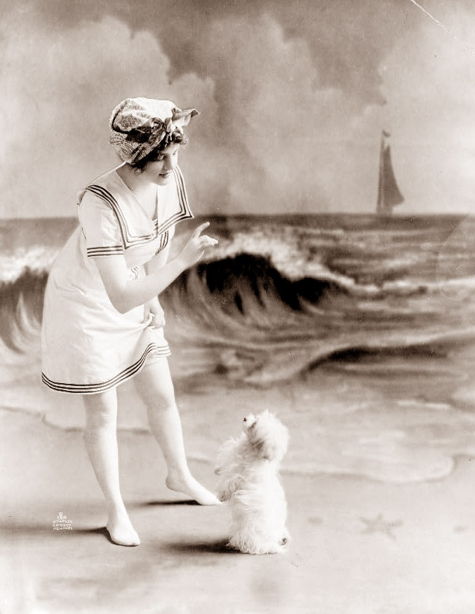 Vintage Photography : Woman with a dog.