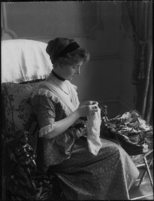 Antique photo ~ Woman sewing.