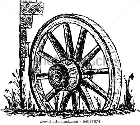 Western Wagon Wheel Clip Art.