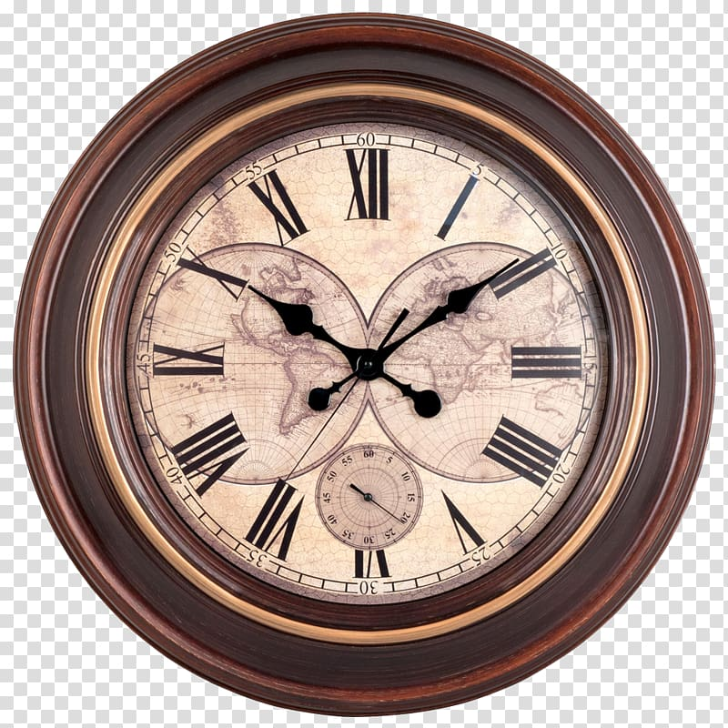 Round brown and black analog clock, Clock Wall Window.