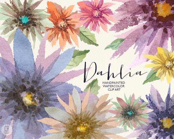 Aquarelle flowers, dahlia watercolor, floral clip art, hand.