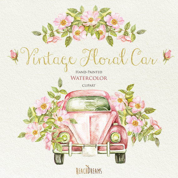 Watercolor Vintage Floral Car with Rustic Roses. Wedding invite.