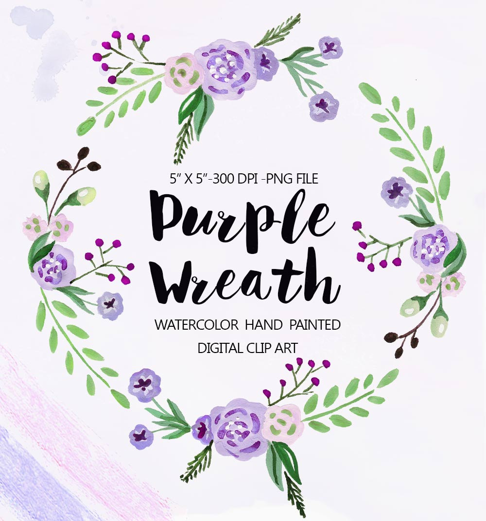 Purple Flower Wreath Clipart.