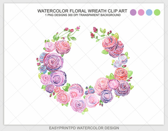 Antique Water Coler Purple Flower Clipart.