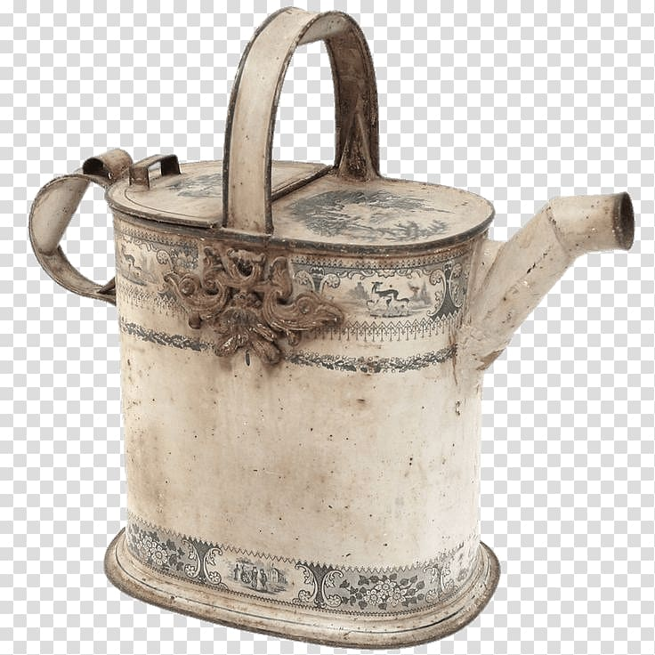 Vintage beige watering can, Decorative Watering Can.