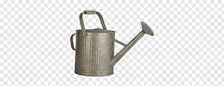 Grey watering can, Vintage Galvanised Watering Can free png.