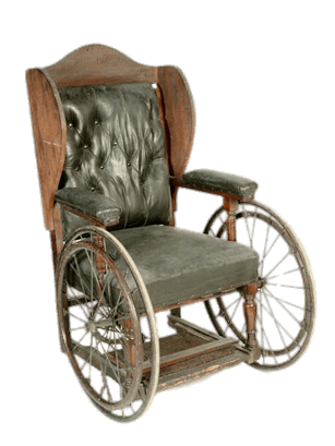 Vintage Padded Wheelchair transparent PNG.