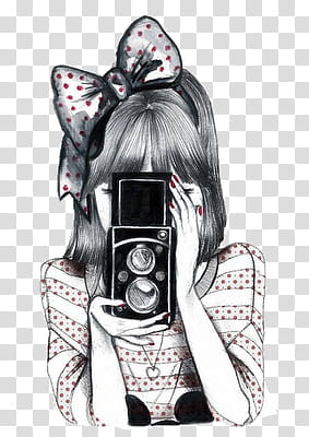 Vintage, woman holding camera transparent background PNG.