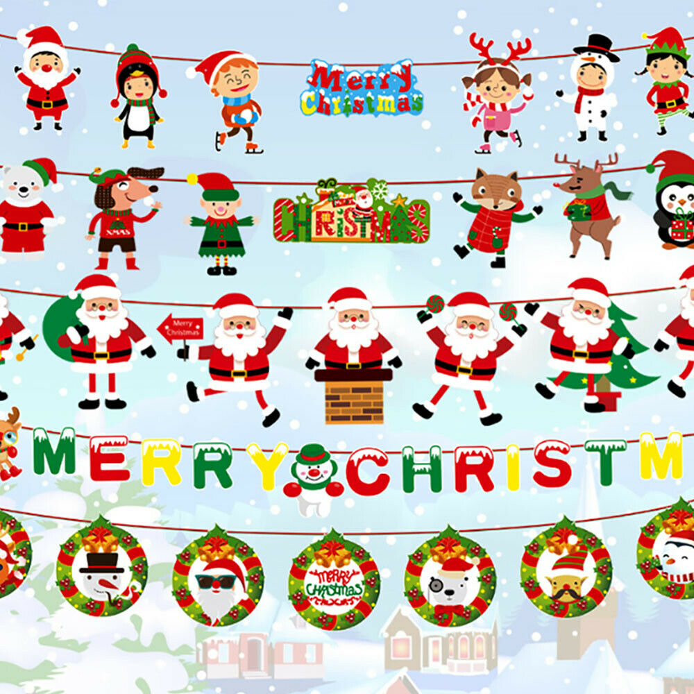 Details about Christmas Party decoration Hanging Gift Santa Claus Sock  Banner Xmas Supply DIY.
