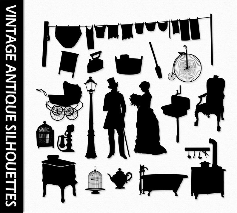 Vintage Clip Art Graphic Antique Clipart Silhouettes Old Furniture Men  Woman Bike Birdcage Scrapbook Digital PNG Vector Commercial Use.