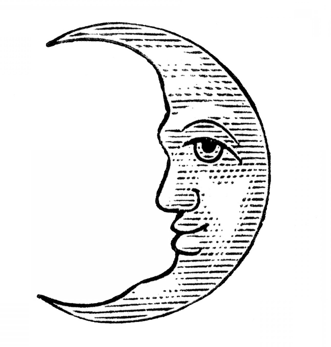 Antique Clip Art Man In The Moon Crescent And Full.
