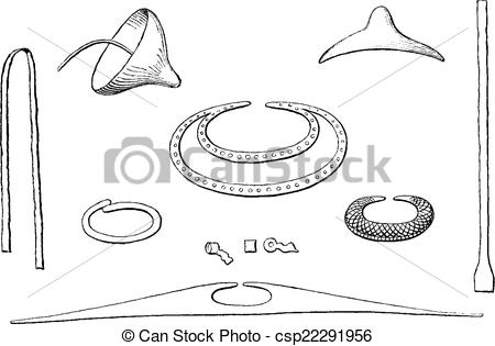 Clipart Vector of Indian antiquities, Objects gold found in tombs.