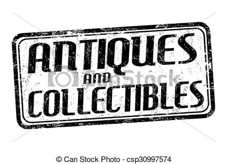 Vectors Illustration of Antiques and collectibles stamp.