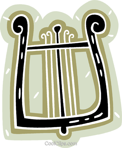 harp from antiquities Royalty Free Vector Clip Art illustration.